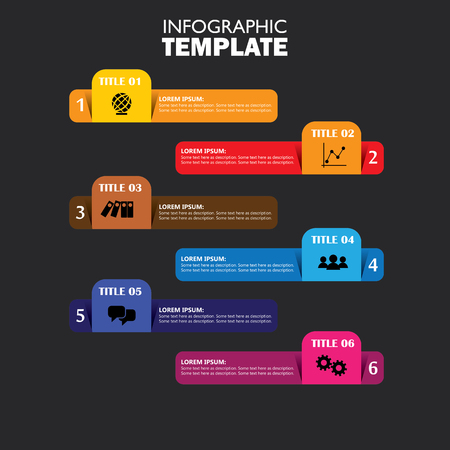six web website: infographic design template and marketing vector icons. this business concept has 6 options, choices, steps or processes and can be used for workflow layout, diagram, number options, web design