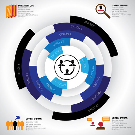 resource: company, manpower, employment & job related infographics vector. This graphic template also represents corporate human resources, employee management, social media, candidate search & selection, etc Illustration