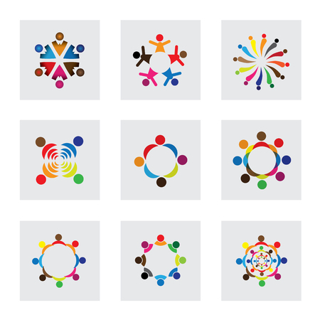 alliance: vector logo icons of children playing together. this also represents unity, partnership, leadership, community, engagement, interaction, teamwork, team, kids, students, employees, learning, fun time Illustration