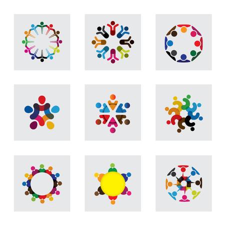 girotondo bambini: Icone vettore logo di persone insieme - segno di unità, Società, Leadership, comunità, l'impegno, l'interazione, il lavoro di squadra, squadra, bambini, ragazzi, dipendenti, incontro, gioco, tempo di divertimento