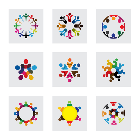 vector logo icons of people together - sign of unity, partnership, leadership, community, engagement, interaction, teamwork, team, children, kids, employees, meeting, playing, fun time Illustration