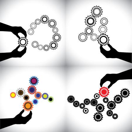 segurar: Os ícones do vetor conceituais de engrenagens juntos. estas rodas dentadas representam também crítico, fundamental, decisivo, essencial, influente, vital, necessário, fundamental, relevante, significativa Ilustração