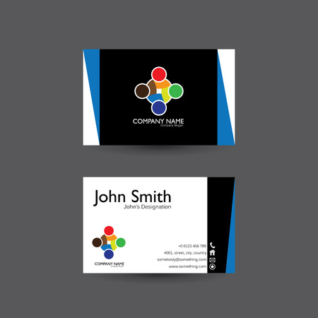 tech logo: vector modern creative and clean business card template with people unity logo Illustration