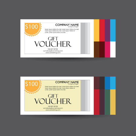 facture restaurant: gift voucher vector template design with clean and modern pattern