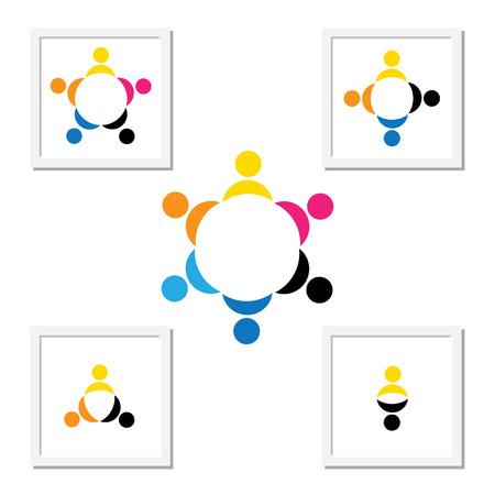 circulo de personas: Concepto de niños jugando, el trabajo en equipo y la diversidad. La plantilla de logotipo contiene los niños tomados de la mano y formando un círculo y también pueden representar concepto de equipo y trabajo en equipo corporativo y también la gente la diversidad Vectores