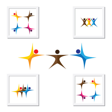 choreography: people, friends, children vector logo icons and design elements. this graphic also represents team & teamwork, leader & leadership, kids playing, yoga, aerobics, exercises, morning workouts Illustration