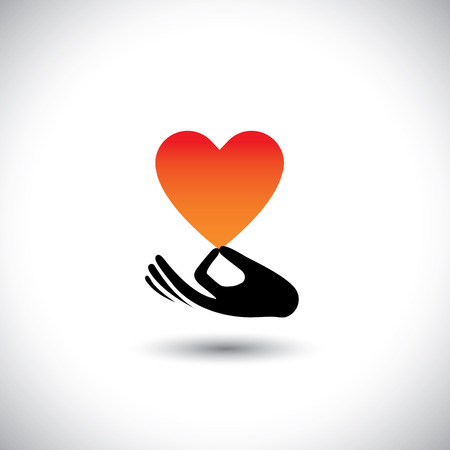 intimacy: heart or love symbol in hand vector  logo icon. this also represents compassion, empathy, care and concern, expressing love, likability, intimacy