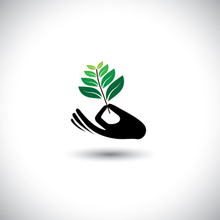 widening: sprout in a hand sign - concept vector icon. the graphic also represents expansion, widening, expanding, increase, growth, protection, support Illustration