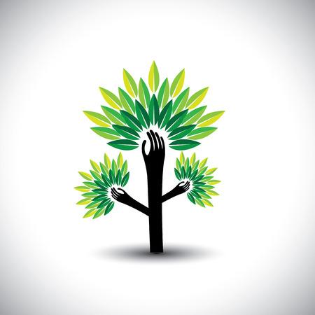 expansion: recycling, eco tree hand with leaves, helping nature - concept vector. The graphic also represents expansion, widening, expanding, increase, multiply, magnification Illustration