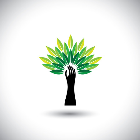 breadth: human hand & tree icon with colorful leaves - eco concept vector. This graphic also represents environmental protection, nature conservation, eco friendly, renewable, sustainability, nature loving Illustration