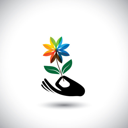 centers: spa concept graphic with womans hand & flower - vector icons. This also represents beauty business, rejuvenation & healing centers, luxury resorts, alternative therapy Illustration