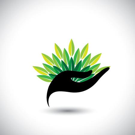 productos de belleza: mujer que sostiene una bola de hojas - concepto de spa de vectores. El icono gráfico representa también la protección de los recursos naturales, productos orgánicos, industria del bienestar, industria de la belleza