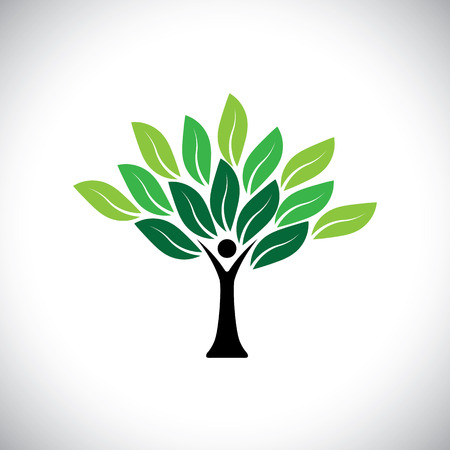 unify: people tree icon with colorful leaves - eco concept vector. This graphic also represents peace, union, unity, embrace, blend, join, unify, renewable, sustainability, harmony