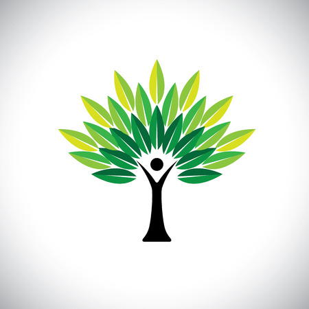 benign: human hand & tree icon with green leaves - eco concept vector. This graphic also represents environmental protection, nature conservation eco friendly growth & expansion, sustainability nature loving