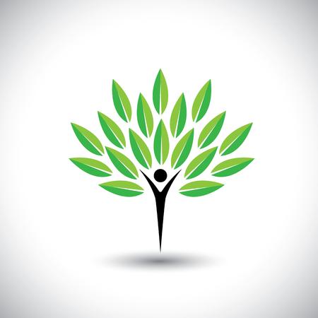 人・自然のバランス - エコ ライフ スタイル概念ベクトルのアイコン。このグラフィックはまた調和、自然環境保全、持続可能な開発、自然なバラン