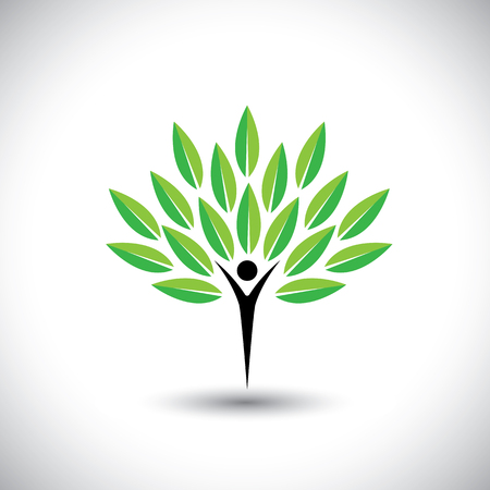 healthy growth: people & nature balance - eco lifestyle concept vector icon. This graphic also represents harmony, nature conservation, sustainable development, natural balance, development, healthy growth
