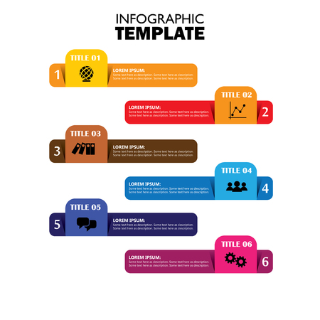 infographic design template and marketing vector icons. this business concept has 6 options, choices, steps or processes and can be used for workflow layout, diagram, number options, web design