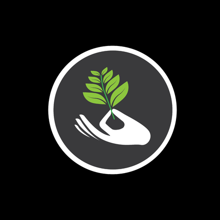 expanding: sprout in a hand sign - concept vector icon on black. the graphic also represents expansion, widening, expanding, increase, growth, protection, support Illustration