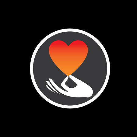 the intimacy: heart or love symbol in hand vector logo icon on black. this also represents compassion, empathy, care and concern, expressing love, likability, intimacy Illustration