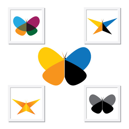 b days: vector logo icon - colorful beautiful butterflies set. this has butterflies in various shapes and colors. Illustration