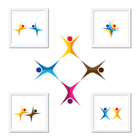 unity: vector logo icons of people together - sign of unity, partnership, leadership, community, engagement, interaction, teamwork, team, aerobics, kids, yoga, dancing, exercise, fun time