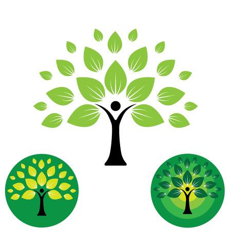 educacion ambiental: logo humana la vida del icono de la gente abstracta del árbol del vector. este diseño representa eco amistoso verde, árbol de familia, signos y símbolos, la educación, el aprendizaje, la tecnología verde, el crecimiento y el desarrollo sostenible Vectores