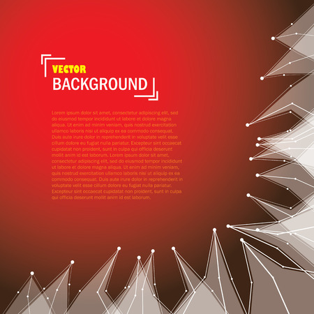 cybernetic: cybernetic technology background with lines and triangle shapes on red color