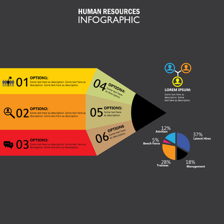 attrition: human resources concept infographic vector icon. this graphic also represents hiring, choice of candidates, search for the best, attrition, lateral recruitment, layoffs, trainees, staff turnover