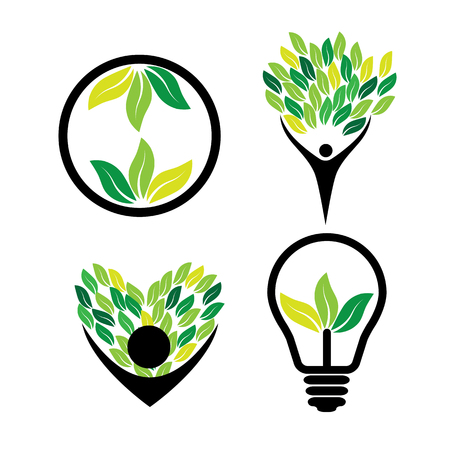 harmony idea: person loving trees, eco idea, green energy - eco concept vector icon set. This also represents nature conservation, green technology, sustainable development & growth, balance & harmony