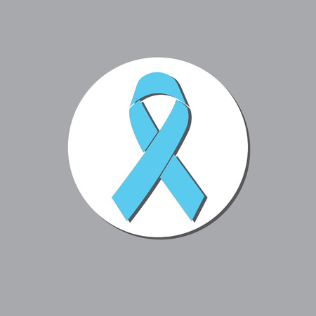 relates: blue awareness ribbon vector icon relates to prostate cancer Illustration
