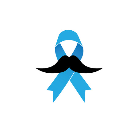 prostate cancer: prostate cancer awareness ribbon vector icon on blue background. light blue ribbon with mustache. Illustration