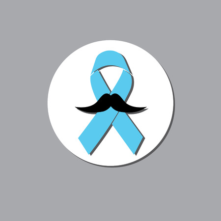 november: vector illustration of tape or ribbon, preventing the male prostate disease and cancer, blue ribbon