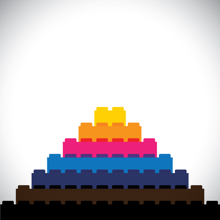 leisure activity: flat vector of building blocks arranged as triangular steps - vector icon. this vector graphic can represent logo, leisure activity, construction concepts, kids concepts, learning & education, etc Illustration