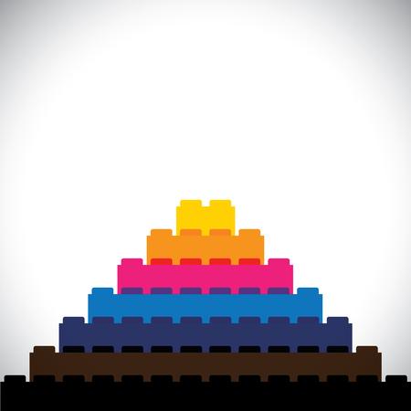 Flach Vektor von Bausteinen als Dreiecks Stufen angeordnet - Vektor-Symbol. dieser Vektor-Grafik kann repräsentieren Logo, Freizeit, Bau-Konzepte, Kinder Konzepte, Lernen & Bildung usw.