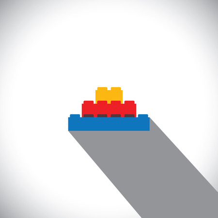 leisure activity: flat vector of building blocks arranged as steps - vector icon. this vector graphic can represent logo, leisure activity, construction concepts, kids concepts, learning & education, etc Illustration