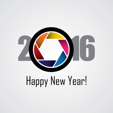 shutter aperture: happy new year 2016 vector design icon as a camera. this vector graphic has a shutter or lens icon with colorful aperture in the center