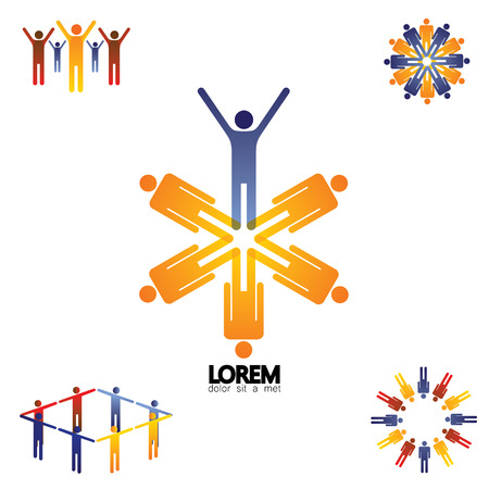 round logo: collection vector set of logo icons of community, office staff, business people. these colorful icons show concepts like teamwork and leadership, happiness, idea, winning and victory
