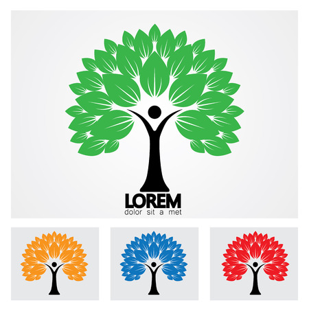 human life logo icon of abstract people tree vector set. this design represents eco friendly green, embracing, hug, friendly, education, learning, green tech, sustainable growth & development