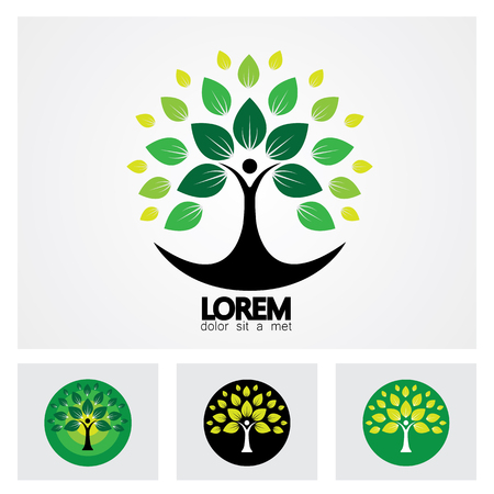human life logo icon of abstract people tree vector set. this design represents eco friendly green, family tree, signs and symbols. Vettoriali