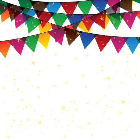 festivities: colorful confetti garland or bunting - vector graphic. this graphic represents decoration for celebration & fun, birthdays & parties, festivities, etc Illustration