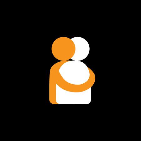 persone abbracciano, amici abbracciare - grafica vettoriale. Questo rappresenta anche reunion, condivisione, amore, emozioni profonde, contatto umano, abbraccio amichevole, sostegno, cura e gentilezza, l'empatia e la compassione