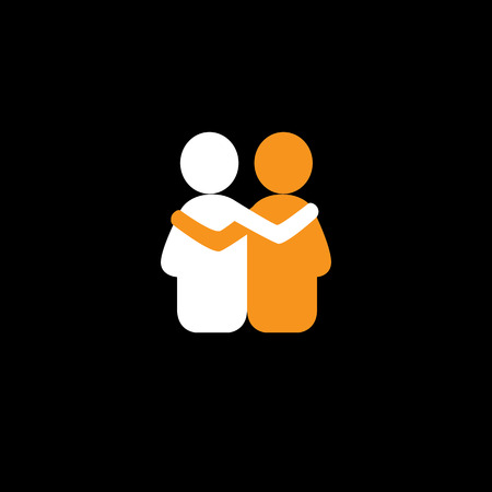 friends hug each other, deep relationship & bonding - vector icon. This also represents reunion, sharing, love, emotions, human touch, friendly embrace, support, care, kindness, empathy, compassion 일러스트