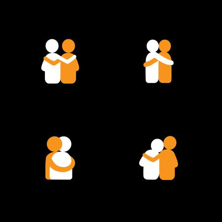 벡터 아이콘 - 서로 포옹 친구의 로고 디자인의 집합입니다. 이 또한 결합, 긴밀한 관계, 친밀감과 사랑, 형제와 자매, 연인, 파트너 등의 개념을 나타냅