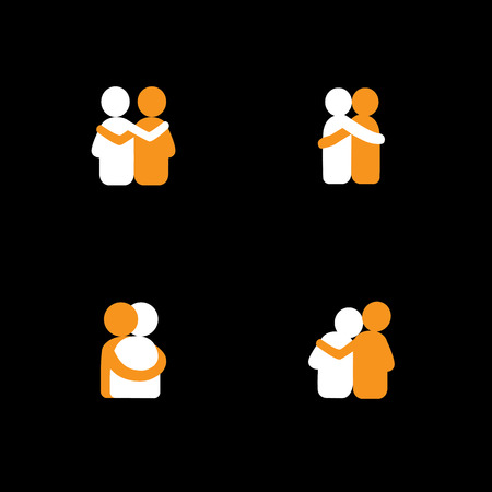 man woman hugging: set of logo designs of friends hugging each other - vector icons. this also represents concepts like bonding, close relationship, intimacy and love, brother and sister, lovers, partners Illustration