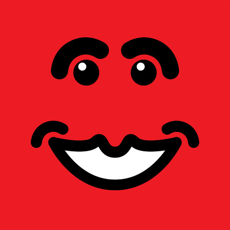 smirk: happy smiling face on red background - vector graphic. Illustration