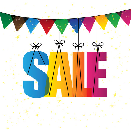 sell: sale words with colorful confetti or bunting - vector graphic icon. this graphic also represents discount sale at shop, festive sale, clearance sale, holiday sale, seasonal sale & other marketing Illustration