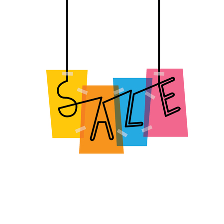 sale words on colorful rectangles - vector graphic icon. this graphic also represents discount sale at shop, festive sale, clearance sale, holiday sale, seasonal sale and other types of marketing Vektoros illusztráció
