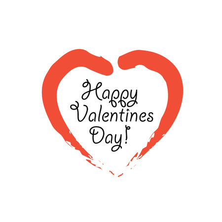 happy valentines day vector graphic with handwritten love or heart symbol. this graphic can be used for greeting cards, posters, mailers, promotions, banners for the 14 february event
