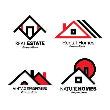 roof: set of line icons of buildings vector logos. this also represents homes, houses, aprtments and residential buildings, rental property, real estate buy sell icons, etc Illustration