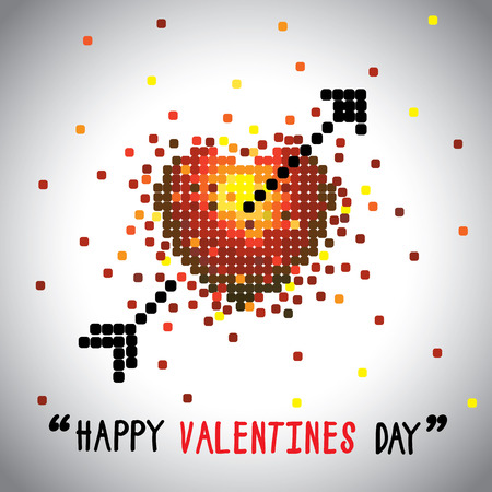 beau: happy valentines day vector graphic with love symbol and arrow. this graphic can be used for greeting cards, posters, mailers, promotions, banners for the 14 february event